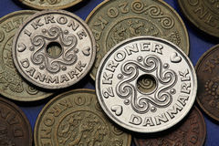 Monedas de Dinamarca Imagen de archivo libre de regalías