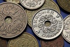 Monedas de Dinamarca Imágenes de archivo libres de regalías