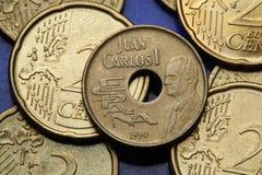 Monedas de España Imágenes de archivo libres de regalías