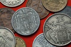Monedas de España debajo de Franco fotografía de archivo