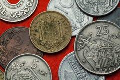 Monedas de España debajo de Franco imagen de archivo