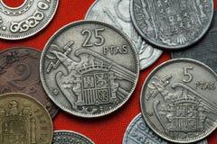 Monedas de España debajo de Franco imágenes de archivo libres de regalías