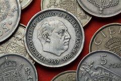 Monedas de España Dictador español Francisco Franco fotos de archivo libres de regalías