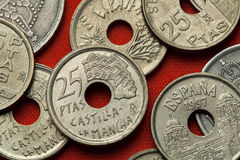 Monedas de España Casas Colgadas en Cuenca, Castilla-La Mancha Imágenes de archivo libres de regalías