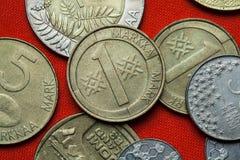Monedas de Finlandia imagenes de archivo