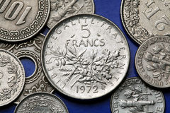 Monedas de Francia Imagen de archivo libre de regalías