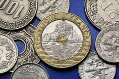 Monedas de Francia Imágenes de archivo libres de regalías