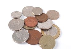 Monedas de GBP Fotos de archivo libres de regalías
