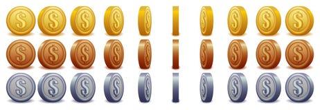 Monedas de giro del dólar Foto de archivo