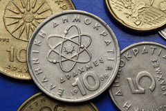 Monedas de Grecia Imagen de archivo libre de regalías
