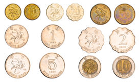 Monedas de Hong Kong fijadas Imagenes de archivo