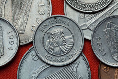 Monedas de Islandia Landvaettir del gigante de la montaña Fotos de archivo