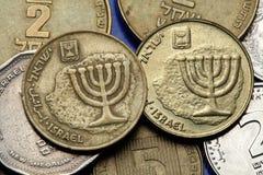 Monedas de Israel Imágenes de archivo libres de regalías