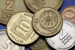 Monedas de Israel Fotos de archivo libres de regalías