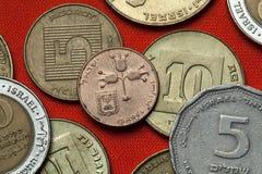 Monedas de Israel Tres granadas Imágenes de archivo libres de regalías