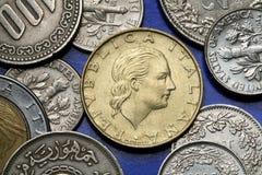 Monedas de Italia Imagen de archivo libre de regalías