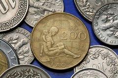 Monedas de Italia Foto de archivo