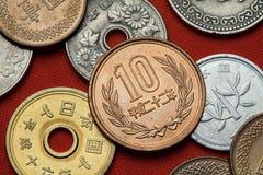 Monedas de Japón foto de archivo libre de regalías