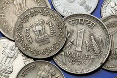 Monedas de la India Imágenes de archivo libres de regalías