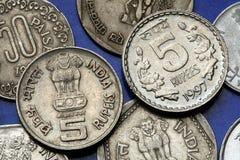 Monedas de la India Imagen de archivo libre de regalías