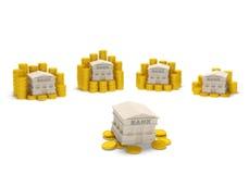 Monedas de la liquidez de banco Fotografía de archivo libre de regalías