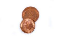 Monedas de la R.F. Alemana viejas hechas del cobre Foto de archivo libre de regalías