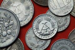 Monedas de la República Democrática Alemana (la Alemania Oriental) foto de archivo libre de regalías