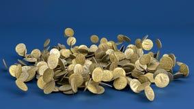 Monedas de la rublo rusa que caen Foto de archivo libre de regalías