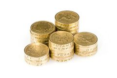 Monedas de libra Imagenes de archivo