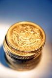 Monedas de libra brillantes Imagen de archivo