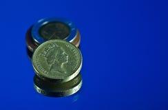 Monedas de libra británica Imagen de archivo libre de regalías