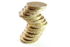 Monedas de libra BRITÁNICAS Fotografía de archivo libre de regalías