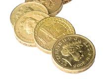 Monedas de libra BRITÁNICAS imagenes de archivo