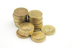 Monedas de libra BRITÁNICAS Fotografía de archivo