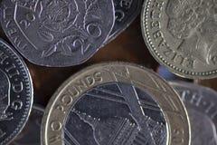 Monedas de libra inglesas Imágenes de archivo libres de regalías