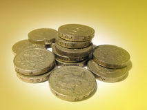 Monedas de libra inglesas foto de archivo libre de regalías