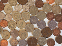 Monedas de libra, Reino Unido Foto de archivo libre de regalías
