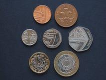 Monedas de libra, Reino Unido Foto de archivo