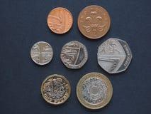 Monedas de libra, Reino Unido Imagen de archivo