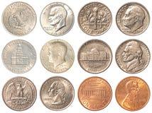 Monedas de los E.E.U.U. aisladas en el fondo blanco Fotos de archivo libres de regalías
