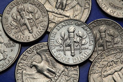 Monedas de los E.E.U.U. Moneda de diez centavos de los E.E.U.U. fotografía de archivo
