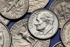 Monedas de los E.E.U.U. Moneda de diez centavos de los E.E.U.U. Franklin D roosevelt fotos de archivo