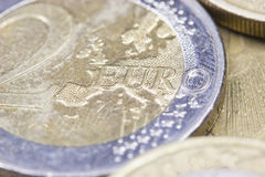 Monedas de los euros. Foto de archivo