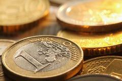 Monedas de los euros Foto de archivo