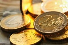 Monedas de los euros Fotografía de archivo libre de regalías