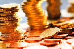 Monedas de los euros Foto de archivo libre de regalías