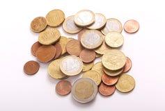 2 monedas de los euros Fotografía de archivo libre de regalías