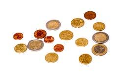 2 monedas de los euros Fotografía de archivo
