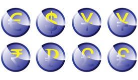 Monedas de los símbolos del botón Fotografía de archivo