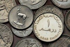Monedas de los United Arab Emirates Fotos de archivo libres de regalías